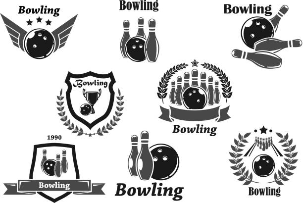Bowling championship or contest award vector icons vector art illustration