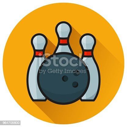 Bowling Circle Orange Flat Icon Stock Vector Art & More Images of Activity 964705800