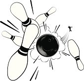 Black and white vintage style clip art with dramatic pins in perspective.  The tiny bowler silhouette was drawn at full size, so he looks great if you want to make him bigger.