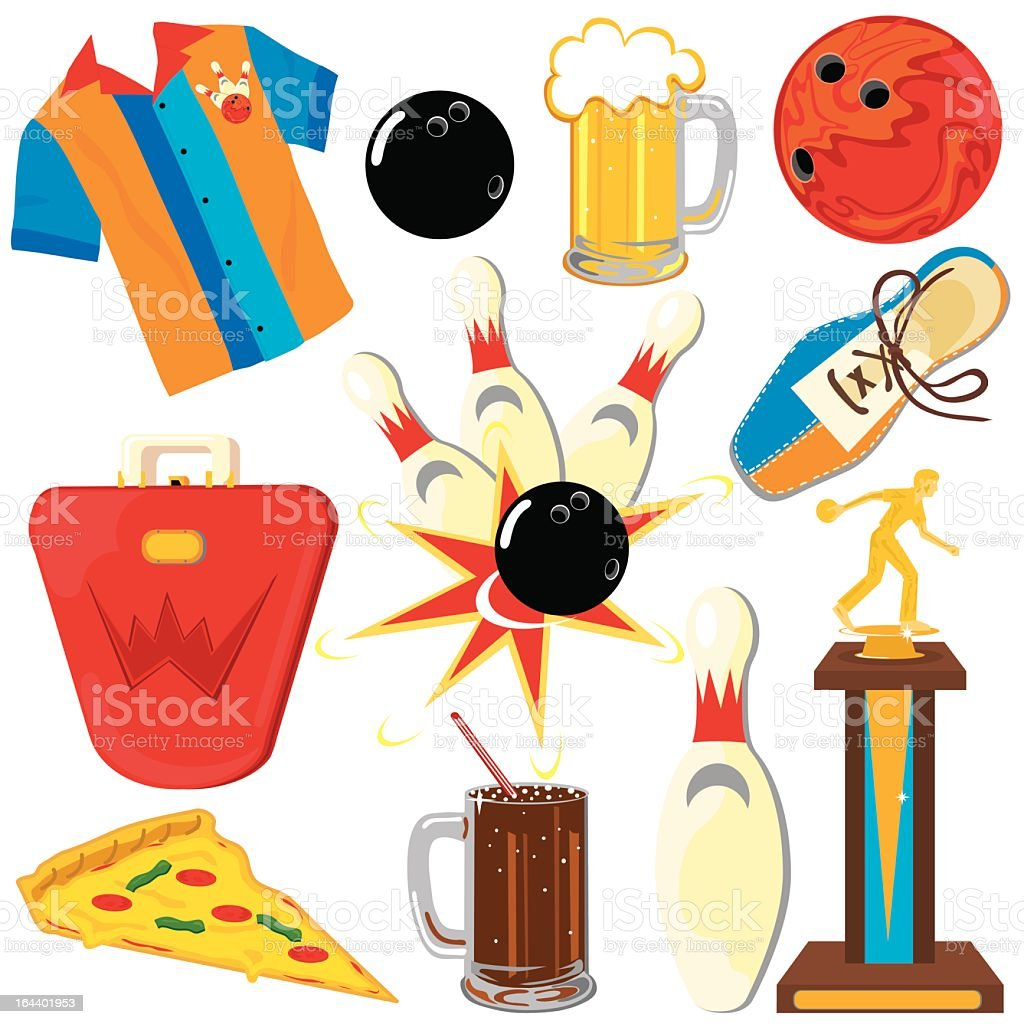 Bowling Clipart elements and icons vector art illustration