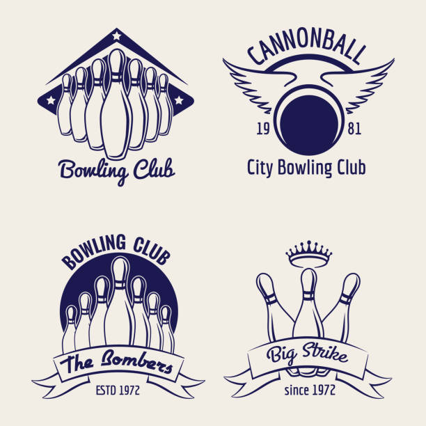Bowling club design elements vector art illustration