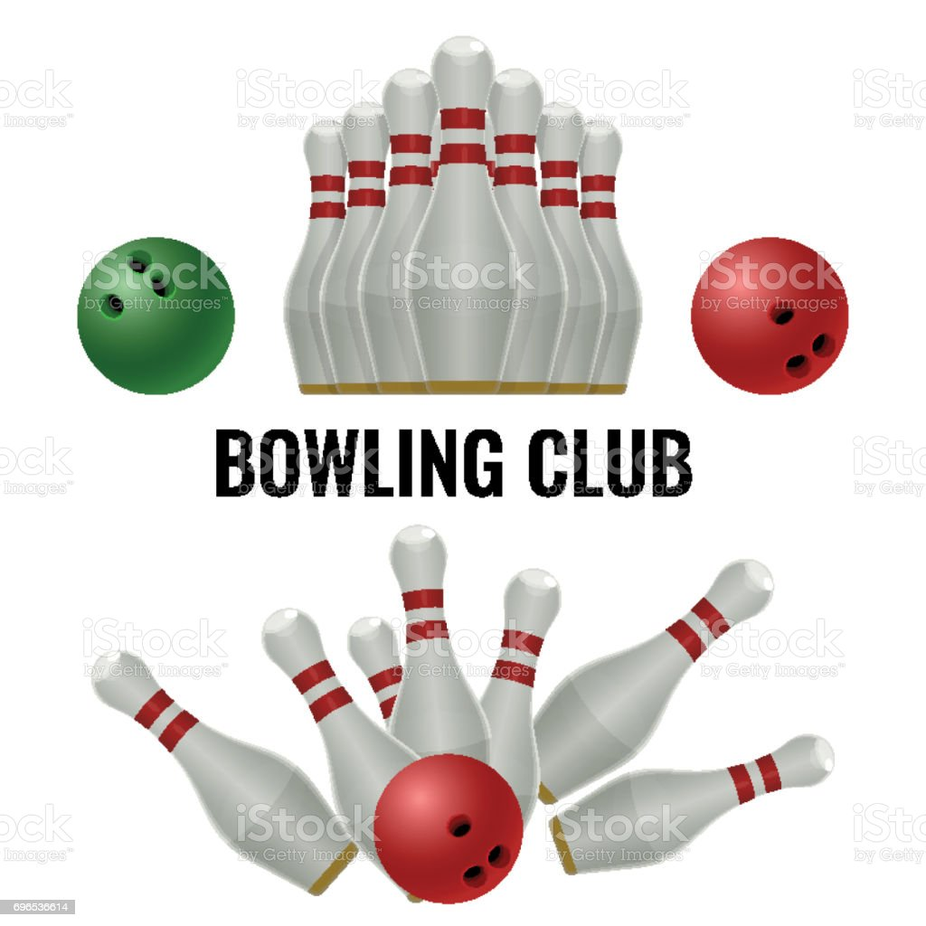 Bowling club design of equipment for play. Vector illustration vector art illustration