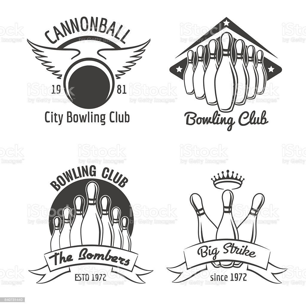 Bowling club emblem set vector art illustration