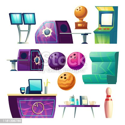 Bowling club equipment icons, design elements set isolated on white background. Balls, skittle, score monitor, counter desk with PC, golden trophy, coffee table, cups, sofa Cartoon vector illustration