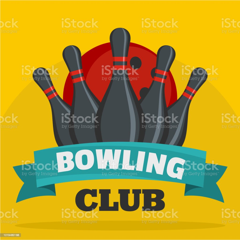 Bowling club icon, flat style vector art illustration