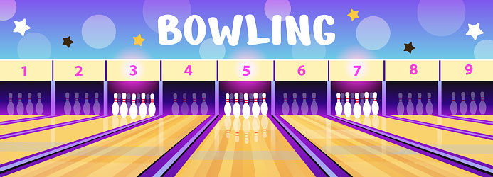 Bowling club interior with bowling alleys and pins  in cartoon style. Vector illustration. Concept background for flyers.