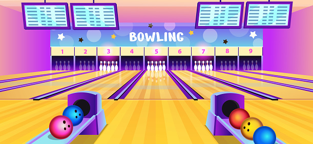 Bowling club interior with bowling alleys, pins and balls in cartoon style. Vector illustration.