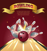 Bowling club poster with realistic ball and skittles and sparkle.
