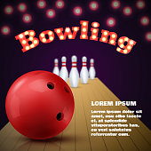 Bowling club poster with red ball and skittles. Vector illustration