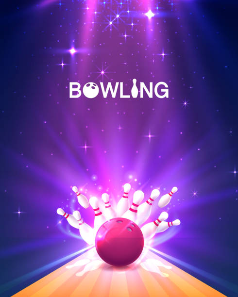 bowling club poster with the bright background. - piłka stock illustrations