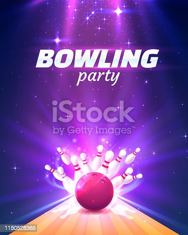 Bowling party club poster with the bright background. Vector illustration