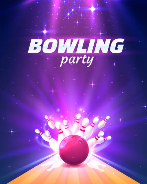 Bowling club poster with the bright background. Bowling party club poster with the bright background. Vector illustration ten pin bowling stock illustrations