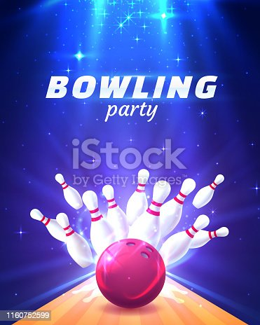 Bowling club poster with the bright background.