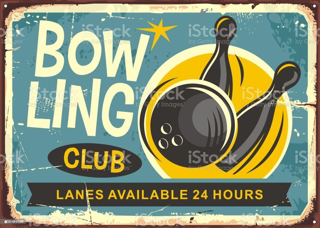 Bowling club retro poster design vector art illustration