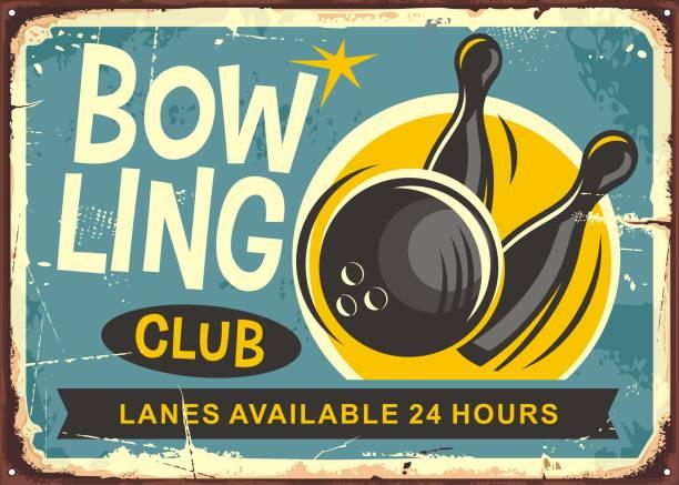 Bowling club retro poster design Bowling club retro poster design with bowling ball hits the skittles. ten pin bowling stock illustrations