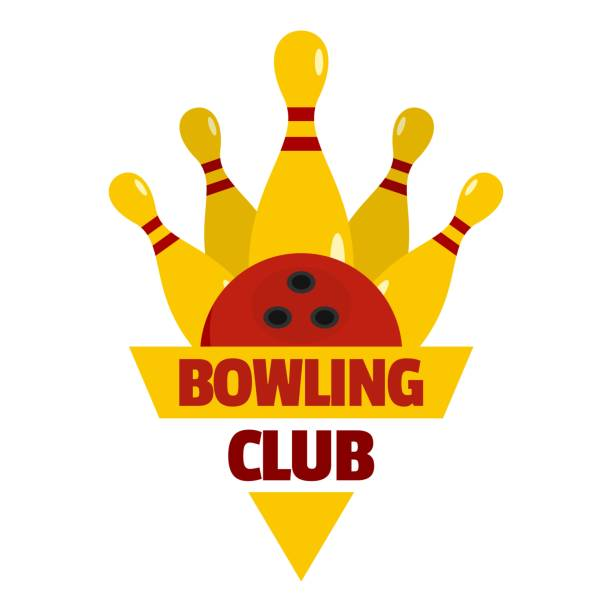 Bowling competition logo, flat style vector art illustration