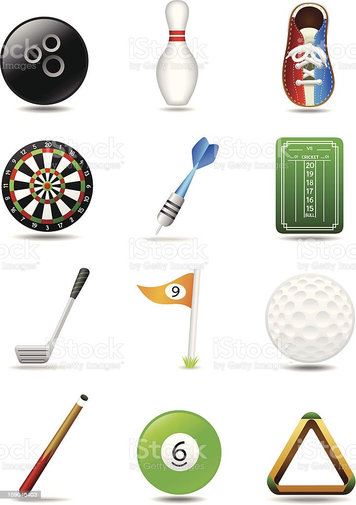 Bowling Darts Golf Billiards | Leisure Sport Icon Set royalty-free stock vector art