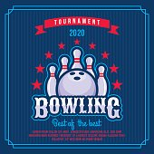 Bowling badge, emblem tournament in vintage retro style template.