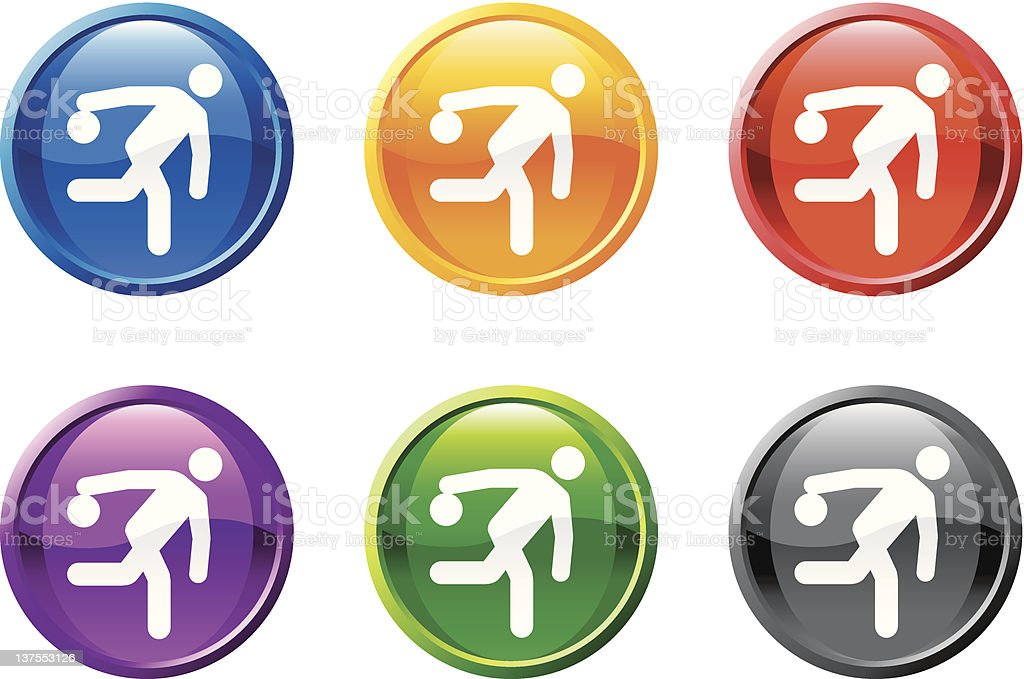 bowling figure button royalty free vector art royalty-free stock vector art