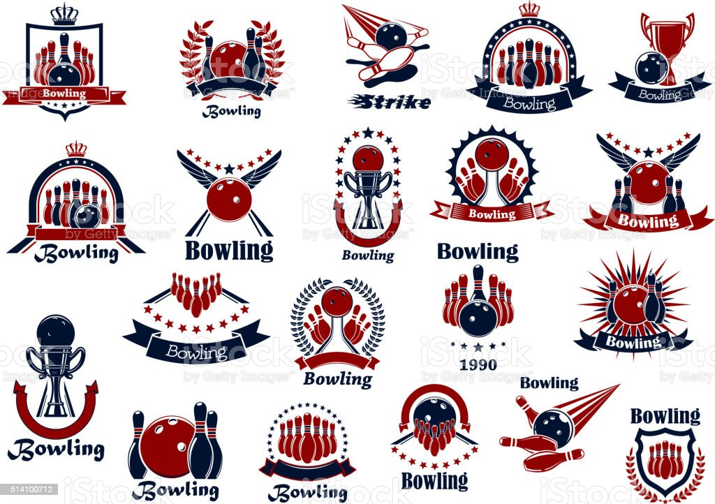 Bowling game and club retro symbols vector art illustration