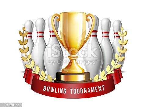 Bowling Game Award. Bowling Ball with and white bowling pin and Golden Cup. Modern Tournament. Design Element For Sport Promotion booklet or Bowling Competition League Flyer.