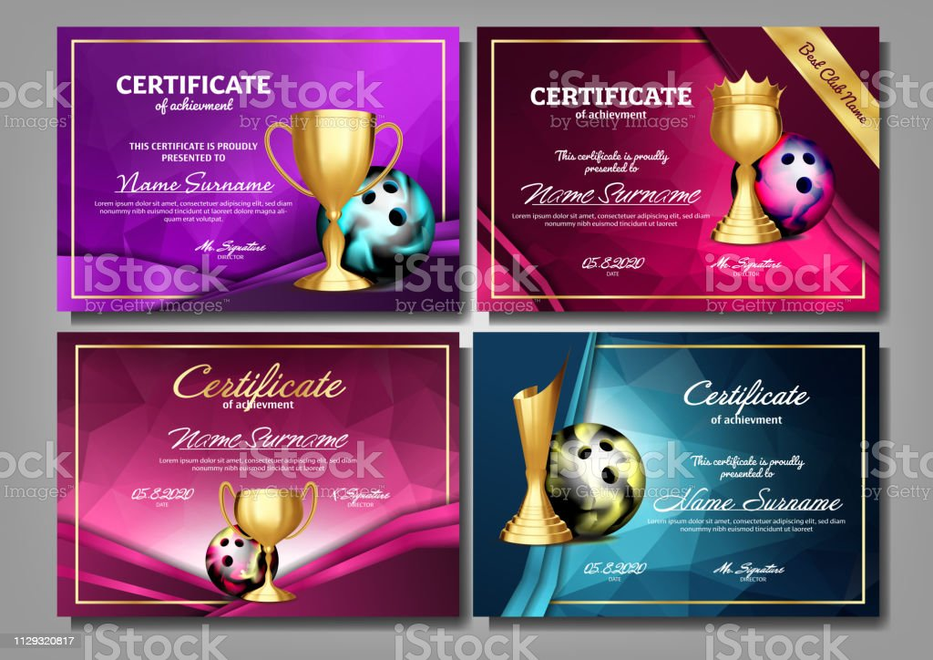 Bowling Game Certificate Diploma With Golden Cup Set Vector. Sport Award Template. Achievement Design. Honor Background. A4 Horizontal. Graduation. Elegant Document. Champion. Illustration