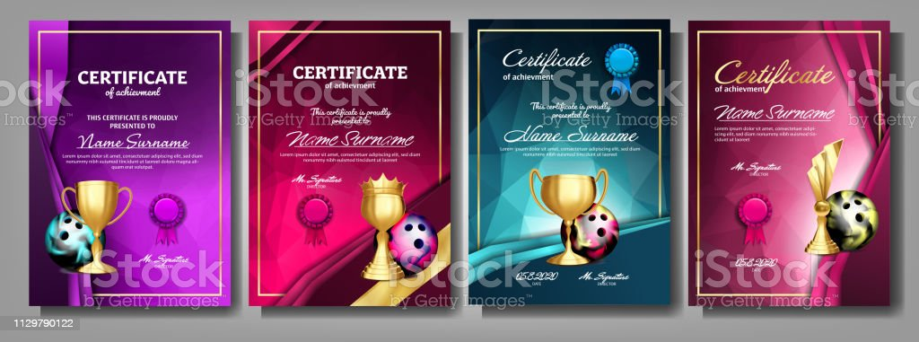 Bowling Game Certificate Diploma With Golden Cup Set Vector. Sport Award Template. Achievement Design. Honor Background. A4 Horizontal. Champion. Best Prize. Winner Trophy. Template Illustration