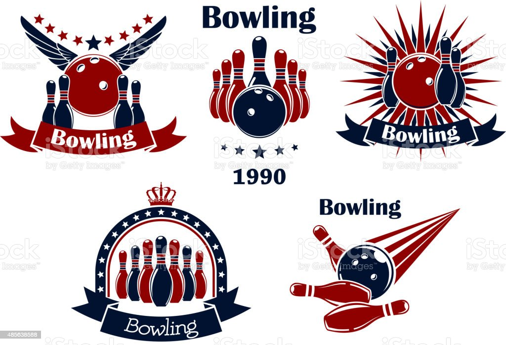 Bowling game emblems with strike vector art illustration