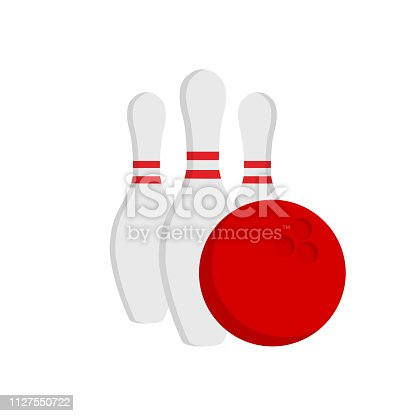 Bowling game pin ball design flat vector stock isolated on white background