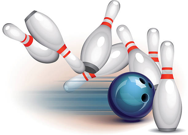 Bowling Game (side view) vector art illustration