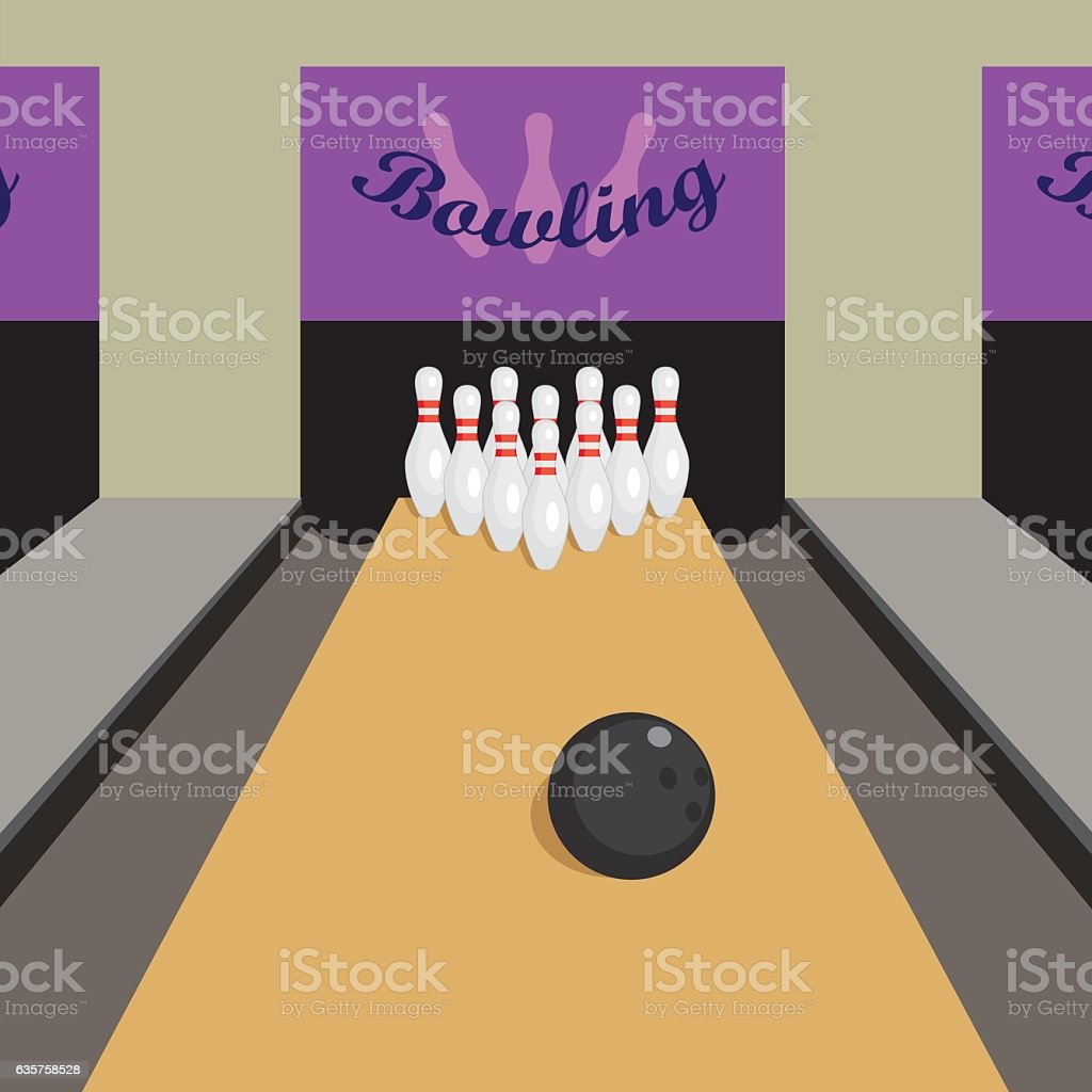 Bowling game. vector art illustration