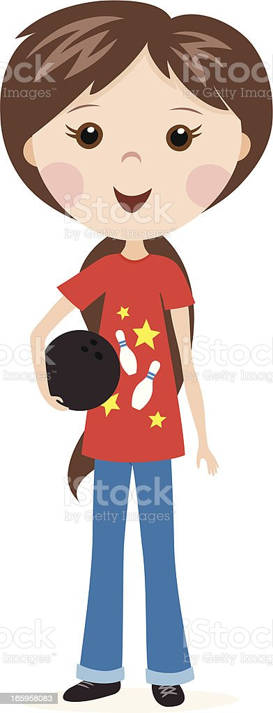 Bowling girl royalty-free stock vector art