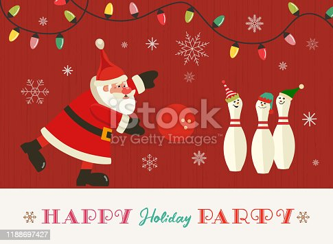 Happy holiday party flat vector greeting. Cute Santa, pins in elves hats cartoon. Christmas holiday season bowling parties invitation background. New year eve celebration banner template illustration