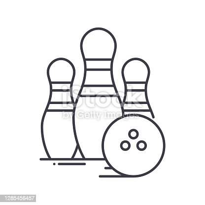 Bowling icon, thin line isolated illustration, linear vector web design sign, outline concept symbol with editable stroke on white background.