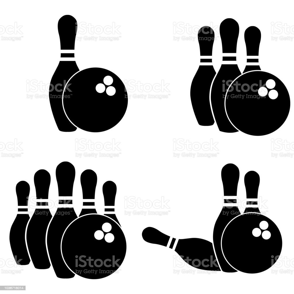 bowling icon silhouette on white background stock vector art more