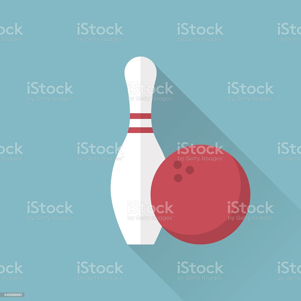 Bowling icon. Skittle and ball. Sport background. vector art illustration