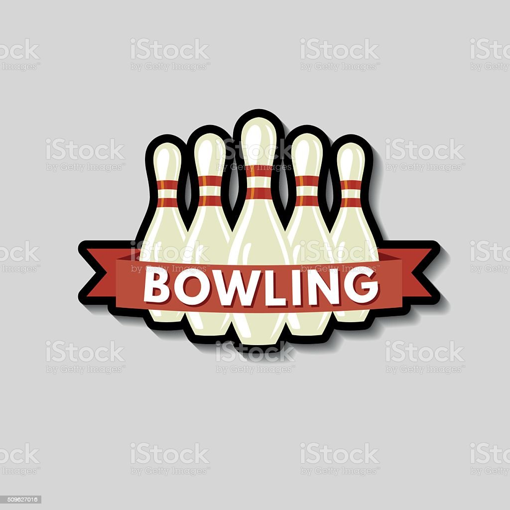Bowling Icon Sticker On A Gray Background vector art illustration