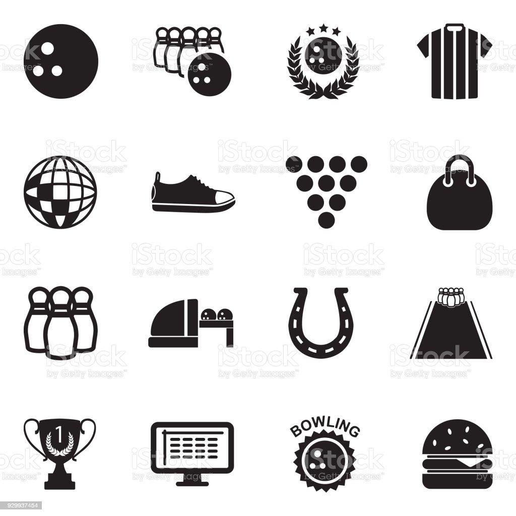 Bowling Icons. Black Flat Design. Vector Illustration. vector art illustration