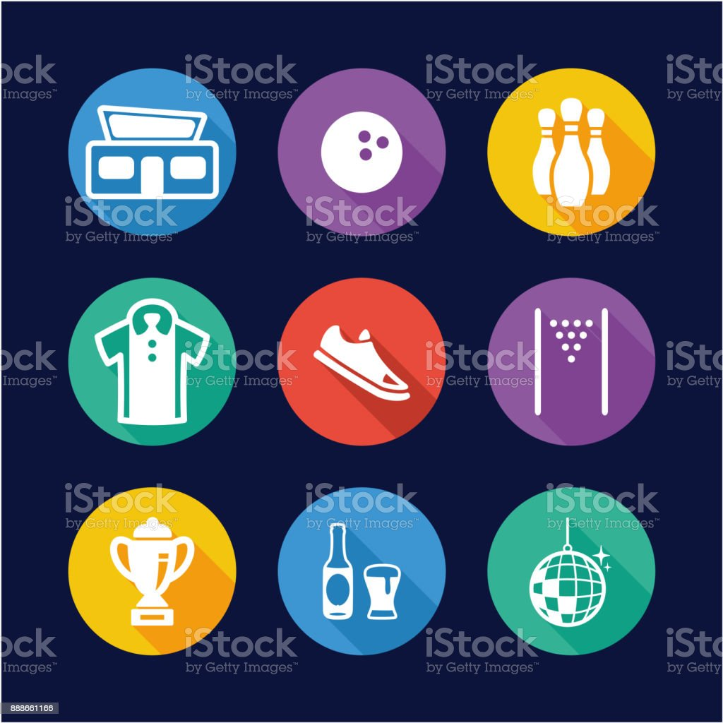 Bowling Icons Flat Design Circle vector art illustration