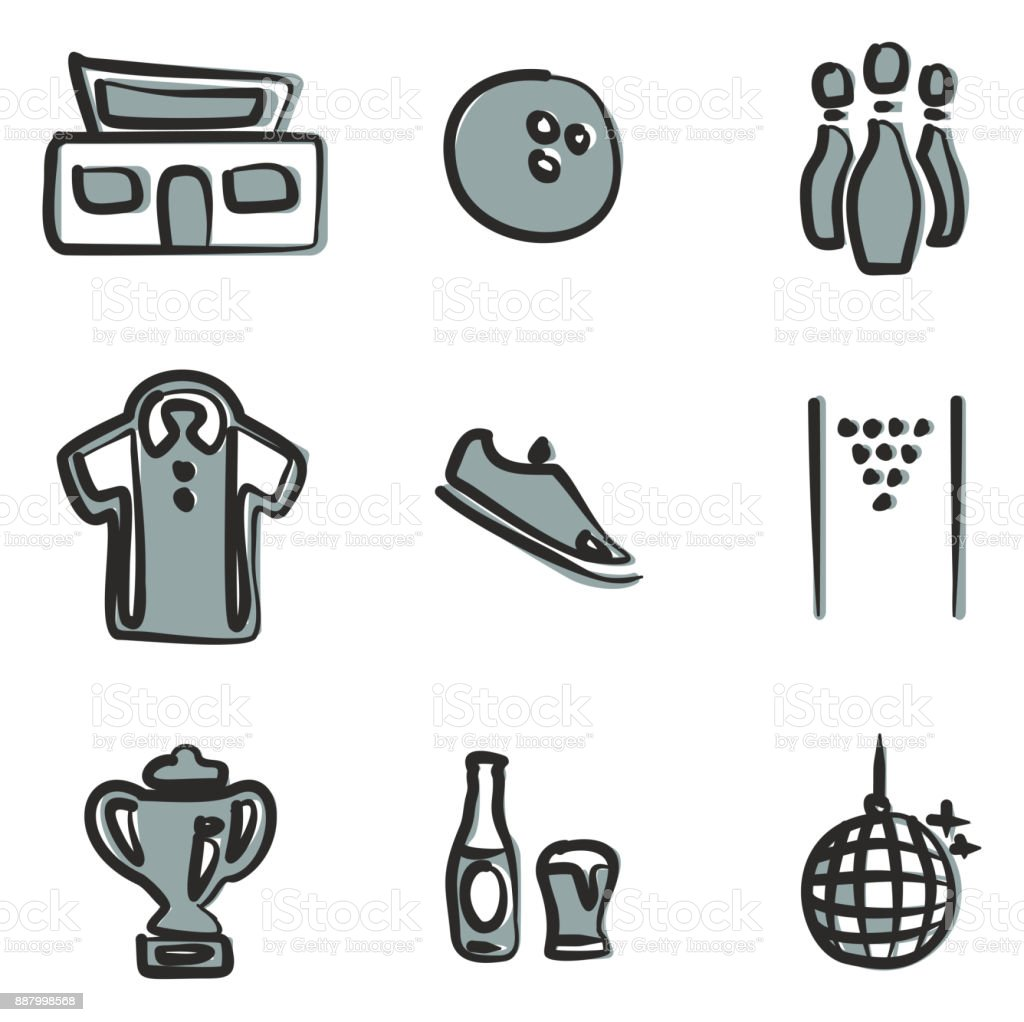 Bowling Icons Freehand 2 Color vector art illustration