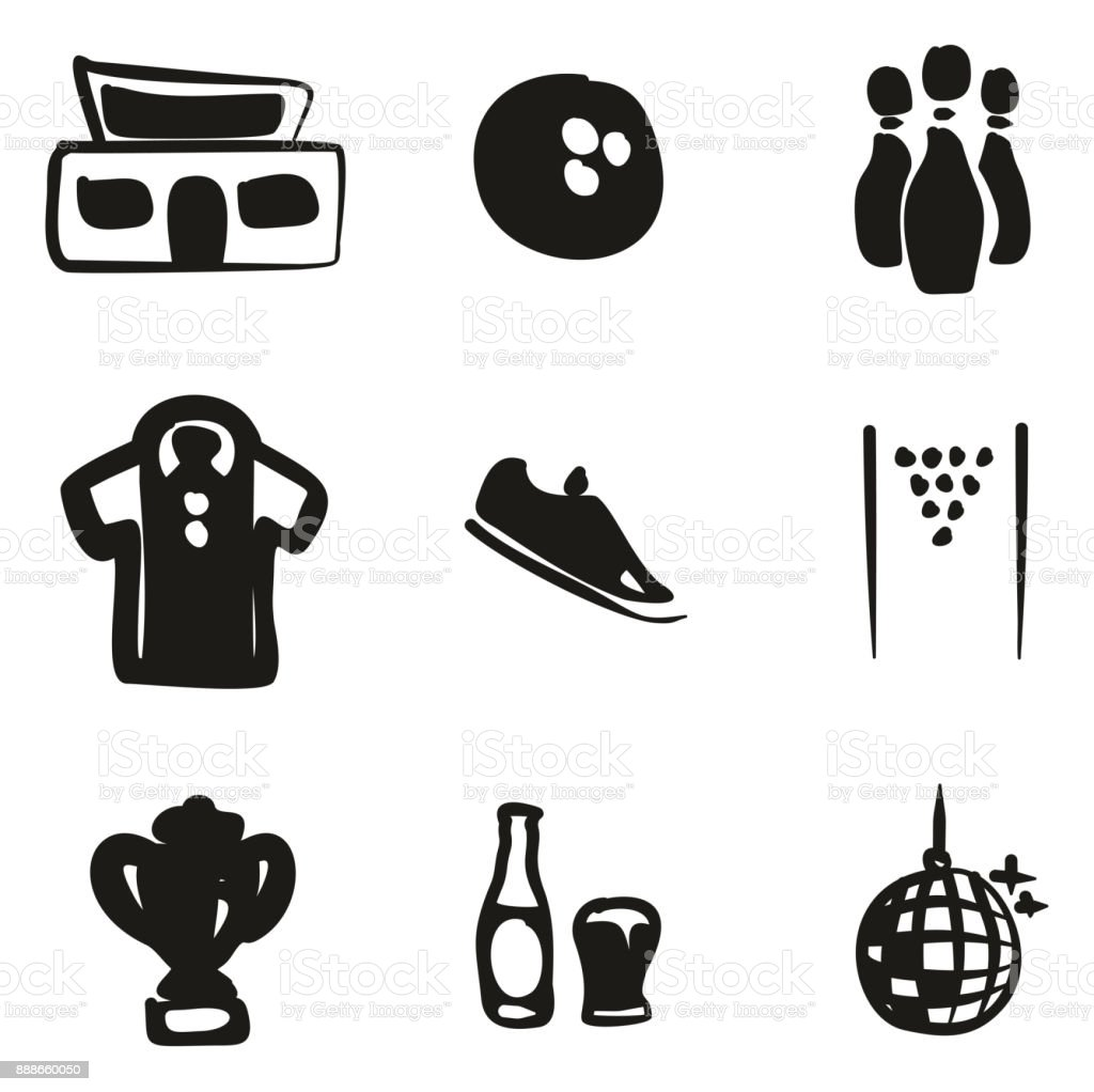 Bowling Icons Freehand Fill vector art illustration