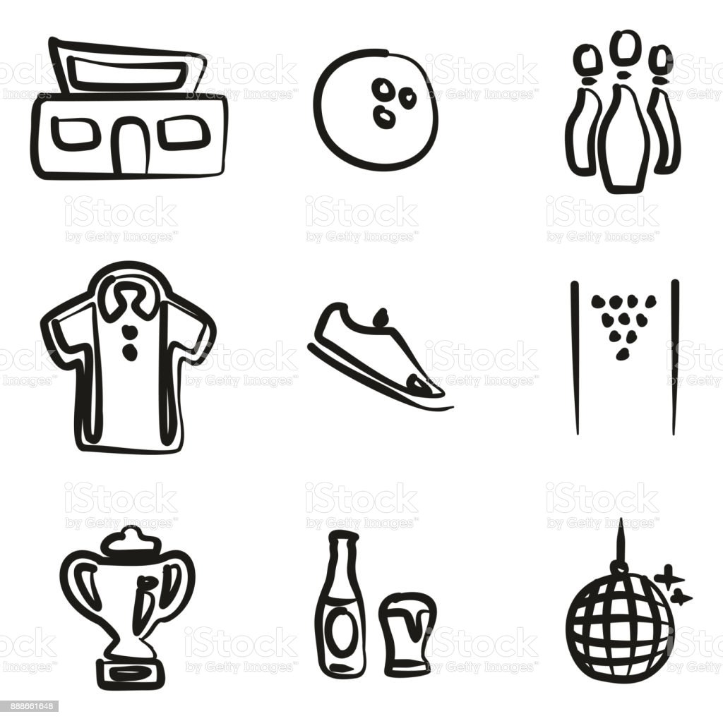Bowling Icons Freehand vector art illustration