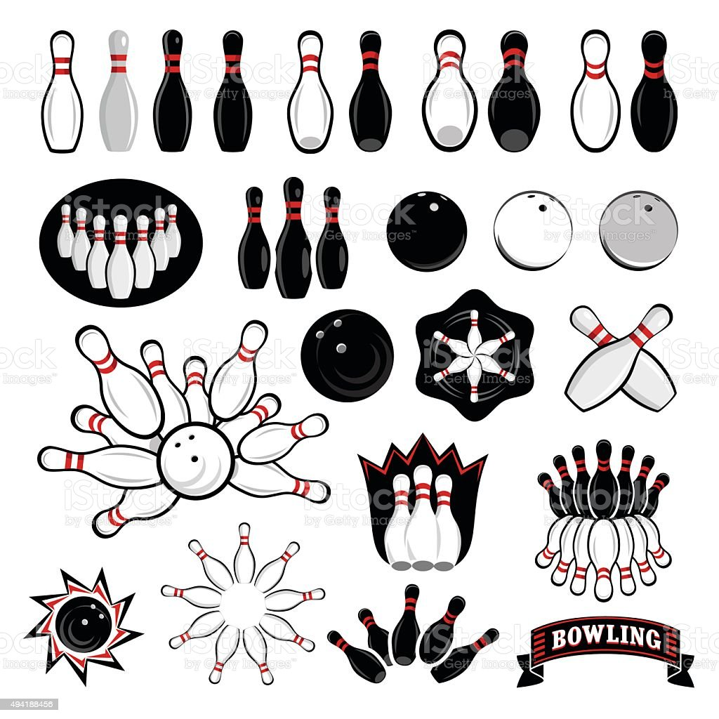 Bowling icons set vector art illustration