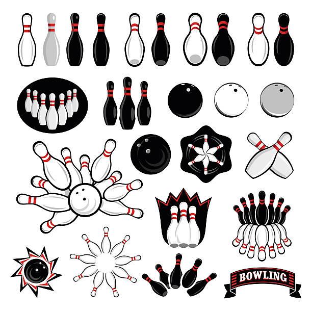 Bowling icons set vector art illustration
