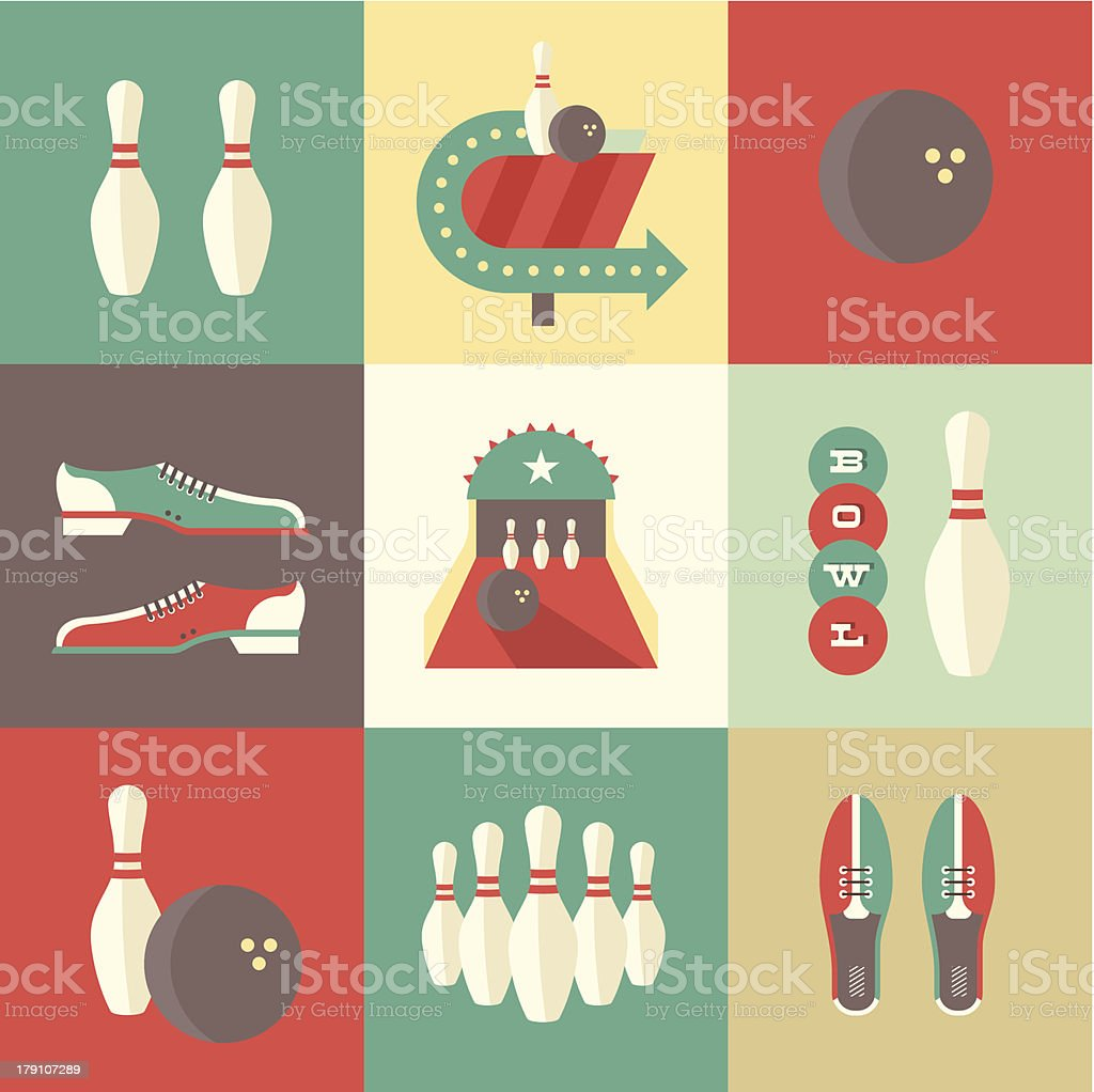 Bowling icons vector art illustration