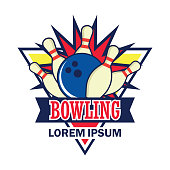 bowling insignia with text space for your slogan / tag line, vector illustration