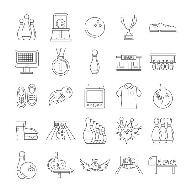 Bowling kegling game icons set, outline style vector art illustration