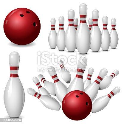 Bowling kegling mockup set. Realistic illustration of 4 bowling, kegling mockups for web