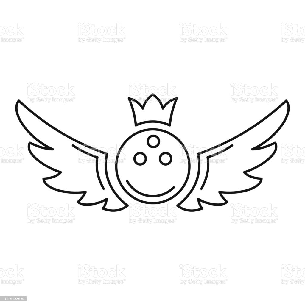 Bowling king emblem icon, outline style vector art illustration