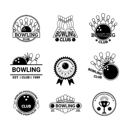 Bowling Label Badge Sign Set Concept. Vector